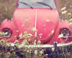 Fine Art Photograph, Vintage Red VW Beetle, Love Bug, Queens Anne Lace, Wildflowers, Boho, Whimsical Art, Hippie, 1960s, 8x10 Print. $30.00, via Etsy.