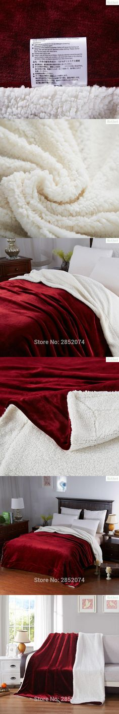 Bursts thick solid color double lambs blankets Spain red autumn and winter warm cover legs sofa blanket