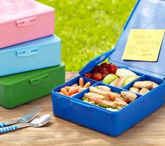 Spencer Bento Box Containers | Pottery Barn Kids  No more washing several different small containers for each kid every day.  Stores whole lunch in one washable piece!  Fits perfectly into lunch boxes with cute ice packs, clips to backpack.