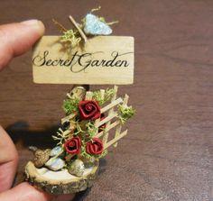 Fairy Secret Garden Sign Miniature Signs by FairyGardenMiniature