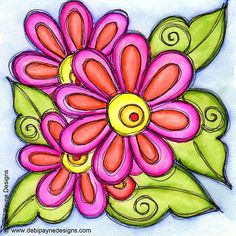 Using Doodle Flower Friday to add a little color to your day!  #doodleflowers…