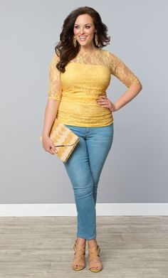 Get a little sunshine this spring in our plus size Smitten Lace Top.  www.kiyonna.com  #KiyonnaPlusYou  #MadeintheUSA
