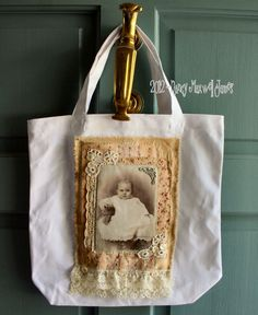 Sugar Lump Altered HANDMADE Collage Fabric Art Tote with Vintage Laces. $9.95, via Etsy.