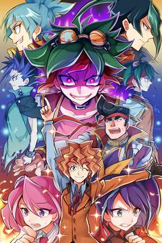 Yugioh! ARC V : In order from top to bottom; Sora, Shun, Yuto, Berserk Yuya, Yuya, Gongazaka, Yuzu, Dennis, and Selena