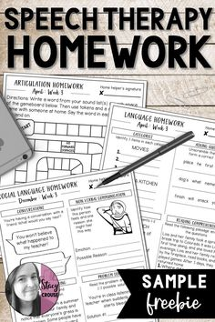 Sending speech therapy homework doesn't get any easier than this! Take back your planning time with these articulation, language, and pragmatic language homework sheets that can be printed or emailed to your students. Speech Therapy Activities, Speech Language Pathology, Speech And Language, Articulation Therapy, Articulation Activities, Language Activities, Speech Room, Therapy Ideas, Play Therapy