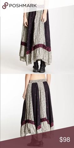 Free People classic Heirloom skirt Gorgeous prairie long skirt colors are amazing free people's best the burgundy with black makes this skirt so gorgeous I worn it a few times but nothing is wrong with it because I take great care of my clothes Free People Skirts Maxi