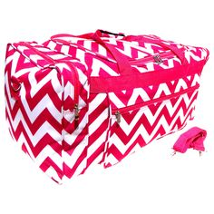 """Best Popular Pink Chevron Large Cheer Dance Duffle Gym Bag Teenage Women Wife Christmas Clearance Sale Valentines Day Gift Idea 21"""" by TravelNut for Kids Teens Boys & Girls"""