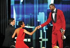 "Robin Roberts receives ESPY award; presented by Labron James; escorted to stage by Roberts' ""Good Morning America"" co-anchor Josh Elliott"