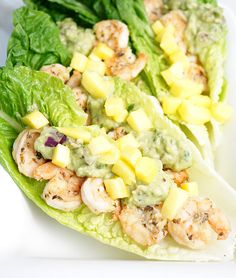 Spicy Shrimp tacos with Avocado sauce and mango.  This was delicious.  Save recipe for the sauce for other tacos.