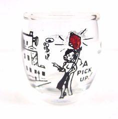 Vintage Shot Glass A Pick Up! Retro Street Scene Lady on Lamp Post Mid Century