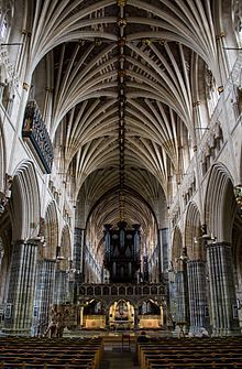 Exeter Cathedral, formally known as the Cathedral Church of Saint Peter at Exeter, is an Anglican cathedral, and the seat of the Bishop of Exeter, in the city of Exeter, Devon, in South West England - the longest uninterrupted medieval vaulted ceiling in the world.
