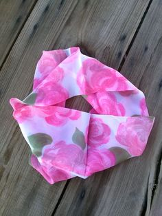 Vintage 1960s Infinity Scarf Silk Pink Roses Smoke by bycinbyhand