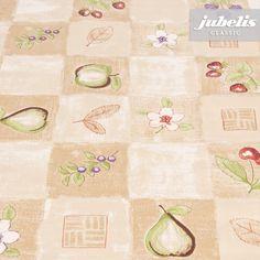 jubelis® PVC-Tischdecken aus Wachstuch klassisches Karo mit Früchten und Blumen Gerda beige