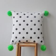 Monochrome Cushion Neon Green Pompoms by LoveJoyCreate