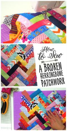 Learn How To Sew Broken Herringbone Patchwork Quilt Tutorials, Sewing Tutorials, Triangles, Sewing Patterns Free, Quilt Patterns, Herringbone Quilt, Leftover Fabric, Sewing Hacks, Sewing Tips