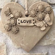 Love Heart, Heart Ornament, Love Ornament, Heart Plaque, Ceramic Heart, Pottery Heart Ornament, Clay Heart Ornament, wedding favour by RJPotteryshop on Etsy https://www.etsy.com/uk/listing/510900260/love-heart-heart-ornament-love-ornament