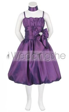 Lovely A-line Tea-length Square Ruched Bowknot Flower Girl Dress(Free Shipping)