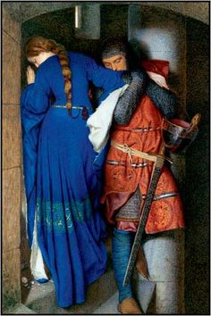 Pre Raphaelite Art: Meeting on the Turret Stairs, water color by Frederick William Burton. This is one of my favorite works of art. The painting itself is beautiful.then if you find out the backstory looking at it brings a tear to my eye Art And Illustration, Romantic Paintings, Beautiful Paintings, Pre Raphaelite Paintings, Frederick William, Frederick Leighton, Pre Raphaelite Brotherhood, Art Plastique, Oeuvre D'art