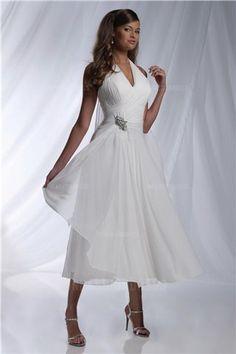 A-Line/Princess Halter Tea-length Chiffon Wedding Dress