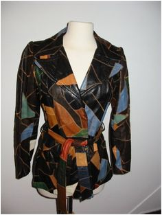 Black and Rainbow Patchwork Leather Jacket