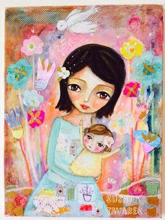 Susana Tavares: Mama and little girl custom painting Baby Painting, Painting Art, Mandala, Art Journal Techniques, Soul Art, Naive Art, Art Journal Inspiration, Art Journal Pages, Whimsical Art