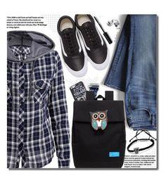 """School Style (plaid hoodie)"" by beebeely-look ❤ liked on Polyvore featuring Lands' End, Bobbi Brown Cosmetics, Vans, vintage, BackToSchool, school, plaid, backpack and twinkledeals"