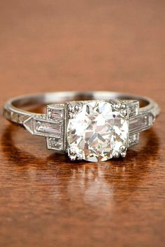 Art Deco Style Engagement Ring, featuring a lively Old European Cut Diamond. Morganite Engagement, Rose Gold Engagement Ring, Engagement Ring Settings, Vintage Engagement Rings, Solitaire Engagement, Wedding Engagement, Art Deco Stil, Diamond Bands, Leo Diamond