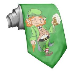 Lucky Leprechaun Kelly Green Neck Tie Our adorable Lucky Leprechaun on this wonderful Kelly Green Neck Tie. Awesome for any St' Patrick's Day attire. #Zazzle #StPatricksDay #Leprechaun #Neck-tie #Men