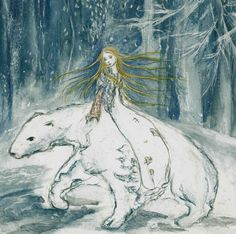 Items similar to East of Sun West of Moon Fairy tale princess with white bear on Etsy Winter Illustration, Illustration Art, Book Illustrations, The Darkling, East Of The Sun, Moon Fairy, Blue Fairy, Moon Print, Collage