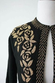 Beads, embroidery, and gold Zardosi Embroidery, Embroidery On Kurtis, Hand Embroidery Dress, Kurti Embroidery Design, Embroidery Neck Designs, Hand Embroidery Videos, Bead Embroidery Patterns, Embroidery On Clothes, Couture Embroidery