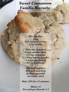 Low carb Sweet Cinnamon Vanilla Biscuits recipe gluten free and perfect for tea time Low Carb Sweets, Low Carb Desserts, Low Carb Recipes, Cooking Recipes, Biscuit Mix, Biscuit Recipe, Bagels, Vanilla Biscuits, Cinnamon Biscuits