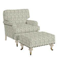 """Travis Club Chair & Ottoman with Antique Brass Nailheads Ballard Club Chair: 32 1/2""""H @ Cushion or 31""""H to Frame X 31 1/2""""W X 35""""D $1,384"""