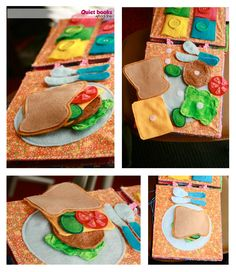 This one is my daughter's favorite. She spends a long period of time playing with the sandwich. There are a bunch of fun food ideas with felt and velcro.) from myquiet book Diy Quiet Books, Baby Quiet Book, Felt Quiet Books, Quiet Book Templates, Quiet Book Patterns, Diy For Kids, Crafts For Kids, Sensory Book, Felt Play Food