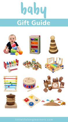 The ultimate gift guide for babies by Little Lifelong Learners. Check out this list of our favorite baby toys, books, and resources! Our baby play directory features 28 toy and gift ideas your baby will love and includes a variety of Montessori baby toy, balls, blocks, Grimm's toys, Montessori toys, and open-ended toys to inspire baby play and development. Take a look at our top toy picks for babies that are 3-12 months! Grimm's Toys, Top Toys, Kids Toys, Baby Play Areas, Rainbow Blocks, Montessori Baby Toys, Baby Sensory Play, Baby Gym, The Ultimate Gift