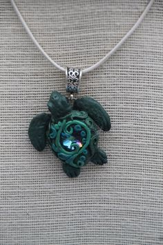 Sea Turtle Sculpted Pendant necklace with Crystal by Luxembears