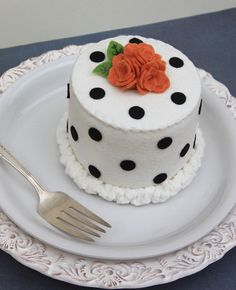 Felt Cake Halloween Black Polka Dots And Orange by ViviansKitchen, $28.00