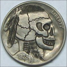 RUTH BORM HOBO NICKEL - INDIAN BRAVE SKULL - 1929 BUFFALO PROFILE Hobo Nickel, Indian Head, Art Forms, Sculpture Art, Buffalo, Coins, Skull, Carving, Brave