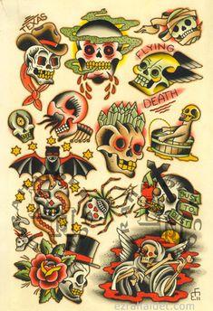Traditional Tattoo Flash Print 2011 Skulls by EzraHaidetTattooer
