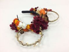 Fall inspired Floral Mickey Ears. These will look great if you are getting ready for the Food and Wine Festival! These flower crowns have braided ears that are made of a twine wrapped metal. These were made to fit adults, but they should fit anyone, they just might be a bit bulky on a child. There are no wires under the head bands to make them nice and comfy, so they can be worn all day around the parks! Please feel free to contact me with any questions.