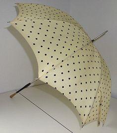 Vintage-Antique-Yellow-Black-Polka-Dot-Umbrella-Parasol-Wood-Metal-Handle-Cover