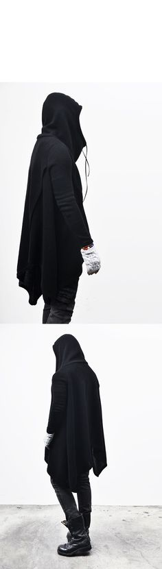Outerwear :: Dark Edge Hooded Poncho Cape-Coat 31 - Mens Fashion Clothing For An Attractive Guy Look