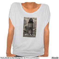 Paris, kiosk on the Champs Elysees. T-shirts