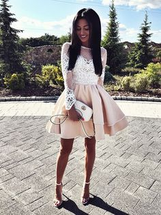 Cute A Line Round Neck White Lace Long Sleeves Champagne Satin Short Homecoming Dresses, Quinceanera Dresses, Short Party Dresses Quinceanera Dresses Short, Lace Homecoming Dresses, Hoco Dresses, Sexy Dresses, School Dance Dresses, Casual Chique, Ladies Dress Design, Dream Dress, Dresser