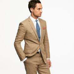 Linen suit...groom?!? Maybe with an orange or yellow tie?!