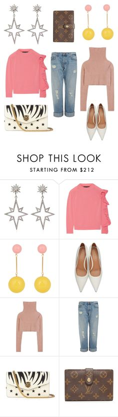 """""""Mix it up #2"""" by bonjour-emelie ❤ liked on Polyvore featuring Apples & Figs, Paper London, J.W. Anderson, Marni, Valentino, J Brand and Gucci"""