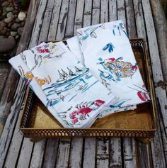 FREE SHIPPING..Vintage Set of 8 Coastal Cloth by ellansrelics02