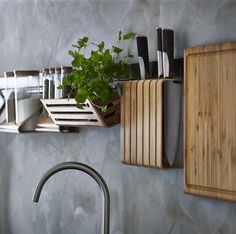 15 Reasons You'll Want to Visit IKEA in February: The RIMFORSA Kitchen Accessories Collection: Made from sustainably sourced bamboo, every piece is designed to be hung on a rail but can also be used and stored independently. Ikea New Kitchen, Kitchen Plants, Stylish Kitchen, Ikea 2015, Wall Storage, Kitchen Storage, Kitchen Organization, Kitchen Tools, Storage Jars