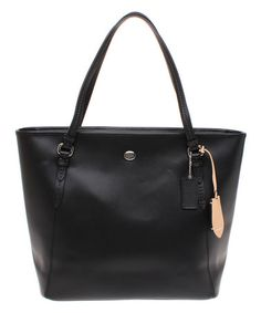 Loving this Black Zip Peyton Leather Tote on #zulily! #zulilyfinds