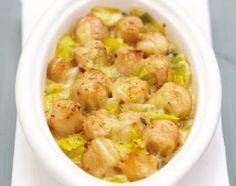 Recette Gratin d'emmental sur poireaux fondants et pétoncles au curry