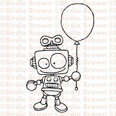 Robot with a balloon.